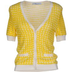 Blumarine Cardigan ($335) ❤ liked on Polyvore featuring tops, cardigans, sweaters, yellow, blumarine, cardigan top, blumarine cardigan, yellow cardigan and print top