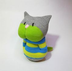 sock toy cat baby kitten soft toy sock animal by TreacherCreatures, $19.00