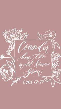 "Free iphone wallpaper: Luke 12:27 ""consider how the wildflowers grow"""