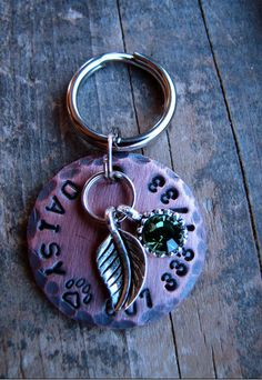 Dog Tag  Custom Pet Tag  Cat Tag  Copper Tag with Leaf and