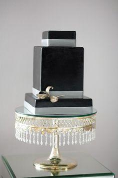 Chic black wedding cake black cake, squar, black weddings, wedding ideas, breakfast at tiffanys, cake stands, wedding cakes, photo galleries, black box