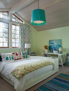 , Modern Teenagers Bedroom Ideas With Light Green Wall Paint Color Also White Bed Frame And Cabinet Combination Design For Double Bed Also White Quilt Color And Adorable Cushions Design And Turquoise Pendant Lamp: Beautiful Teenagers Bedroom Ideas and Designs