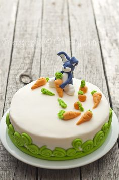 Homemade carrot cake with rabbit decoration