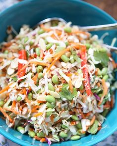 Asian Almond Slaw Salad with Edamame...lunch for you this week! (Link to recipe here ---> @aggieskitchen ) by aggieskitchen