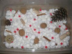 """Winter"" Sensory Tub - cotton balls, cinnamon sticks, pinecones, red pompom or bead ""berries"", nuts, snowflakes"