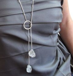 Handmade Necklace with Natural Crystal- Crystal Lariat Necklace