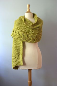 reversible cables - shawl or fold as scarf