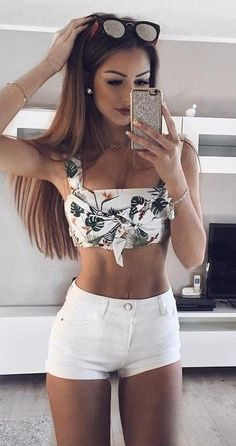 #summer #outfits #inspiration   Tropical Print Bralette + White Shorts