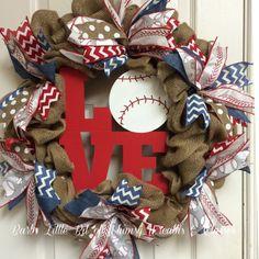Baseball Wreath Sports Wreath Baseball Mom by lilbitofwhimsywreath