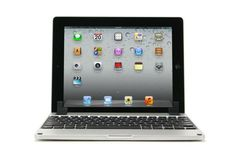The Brydge, a removable aluminum keyboard for the iPad. $170 with no speakers, $210 with speakers.