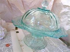 Aqua depression glass, I think this is a butter dish....love it!
