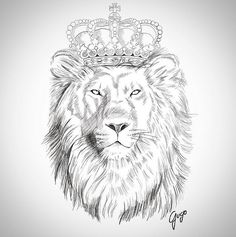 lion with crown drawing Lion Tattoo With Crown, Lion Head Tattoos, Leo Tattoos, Animal Tattoos, Sleeve Tattoos, Tatoos, Tattoos Skull, Lion Tattoo Design, Lion Design