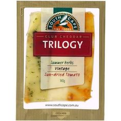 Happy Tuesday Cheeseday xx  Today I'm showcasing a wonderful inclusion on any cheese platter to break up flavour and add a smooth chedder but with 3 flavours in one block!  South Cape Trilogy.  Was originally just called Tilba (anyone watch River cottage Au?) trilogy. One of the best cheese towns in NSW and Australia.  There are a 2 variations of this but my favourite is the chedder/sun dried tomato/herb. They just work well together. The other version is olive/vintage cheese and bell…