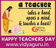 A Teacher, takes a hand, Opens a mind & touches a heart ! Happy Teachers Day to all of our students ... http://www.vidyaguru.in/ #HappyTeachersDay #Teachers #Students