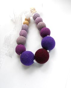 Organic Teething & Nursing necklace  Ombre Purple by EjaEjovna, $21.00