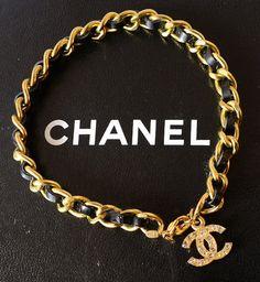 Chanel Leather Interlaced Gold Chain CC Rhinestone Charm Bracelet