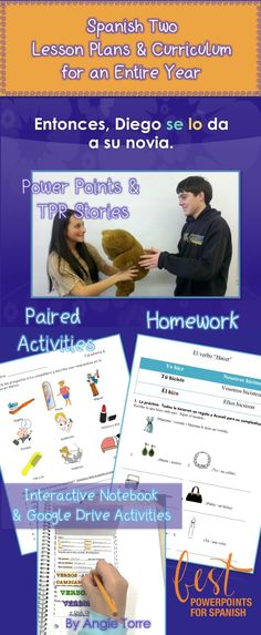 Spanish Two Lesson Plans and Curriculum for an Entire Year- More than a textbook for a fraction of the cost.  No prep, no book needed! Includes:103 ninety-minute lesson plans; extra lessons & activities for regular schedule; 27 Power Points; 31 Interactive Notebook Activities; 3 Google Drive Activities; 72 Bell Ringers; 100 Homework Assignments; Attention-Getters; 52 Student Handouts; 29 Tests & Quizzes; 40 TPRS & Comprehensibl