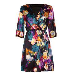 Mela Loves London Floral printed day dress ($39) ❤ liked on Polyvore featuring dresses, black, women, black floral dress, black fit and flare dress, black three quarter sleeve dress, floral dress and black v neck dress