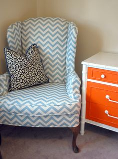 Slipcovered Chevron Wingback, Orange and White Faux Bamboo, Modern Classic reading nook, Guest room potential