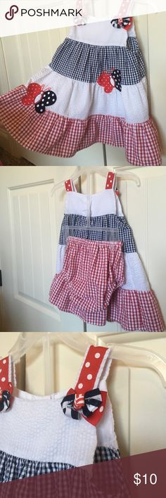 Americana toddler dress. Size 18 month. So cute for a 4th of July or Memorial Day barbecue.  Seersucker fabric, bow and butterfly details and ruffled hemline.  This dress is so sweet on a little girl.  Comes with matching diaper cover.  I have a girl's size 5 available too. Emily Rose Dresses