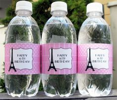Paris Party Water Bottle Wrappers