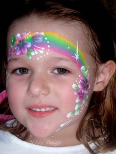 Rainbows & Flowers Face Painting by french poppy design face painting ideas for kids
