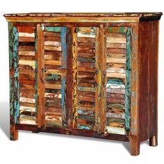Reclaimed Home Furniture Wood Storage Cabinet Sideboard 4 Doors Multicolour UK Solid Wood Sideboard, Sideboard Cabinet, Dressing Extensible, Armoire Antique, Antique Vases, Antique Cupboard, Teak, Wood Storage Cabinets