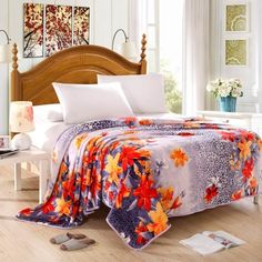 (58.11$)  Buy here - http://ai60c.worlditems.win/all/product.php?id=J-JXM300GA3-Q - Vintage Ham Pattern Printed Flannel Blanket Bed Sheet Bedclothes Home Textiles Queen Size 200 * 230CM