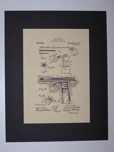 Cobb Automatic Firearm 1911 Patent drawing HistoricPatentArt.com Gun