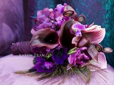 Orchids and Calla lilies are some of my favorite flowers. I saw this wedding bouquet and recreated this bouquet for my wedding. Purple Bouquets, Purple Wedding Flowers, Wedding Bouquets, Lavender Bouquet, Bridesmaid Bouquets, Bridesmaid Ideas, Lavender Blue, Floral Bouquets, Purple Dress