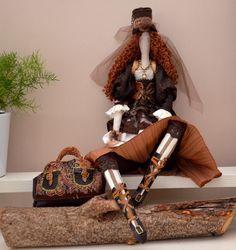 poupée tissu d'inspiration Tilda, La Demoiselle en mode Steampunk : Accessoires…