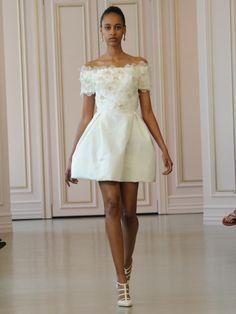 Oscar de la Renta blush and white floral embroidered organza cocktail wedding dress with white silk radzimir skirt