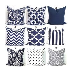 Navy Blue Pillows.24x24 Inch.Decorative Pillow Cover.Home Decor.Navy Blue Pillow.Cover.Chainlink.Damask.Chainlink.Solid.Chevron.ZigZag..Cm