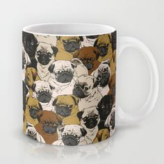 """That's one helluva pug mug. Get your morning sips in with Huebucket's """"Social Pugz"""" premium mug, available in 11/15oz options at Society6."""