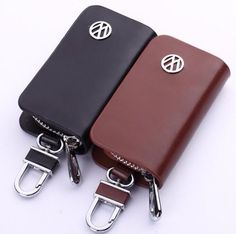 Leather Remote Car Keychain Universal Key Holder Bag Black Zipper Case Cover #HUAHOO