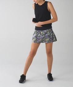 Lululemon Pace Rival Skirt II *4-way Stretch (Tall) - Floral Sport White Multi / Black, $58, sz 8 Tall
