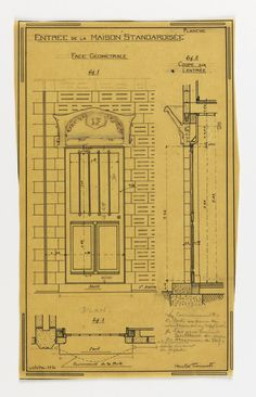 Drawing, Design for a Mass-Operational House Designed by Hector Guimard, Front Entrance, October 1920