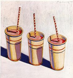 Wayne Thiebaud. Three Strawberry Shakes. 1964. by tiny banquet committee, via Flickr
