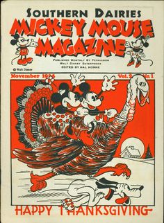 Mickey Mouse Magazine vol. 2 published by Walt Disney Productions, November Disney Thanksgiving, Vintage Thanksgiving, Happy Thanksgiving, Thanksgiving Blessings, Thanksgiving Celebration, Vintage Christmas, Christmas Diy, Vintage Disney Posters, Vintage Mickey