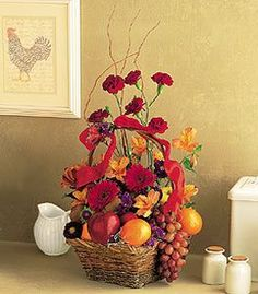 Fruit and Flower Basket - 2 for 1, you can send flowers along with some