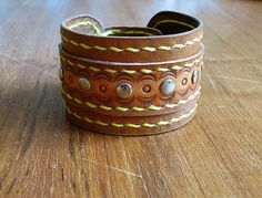 leather bracelet spring by PairOfHandsLeather on Etsy