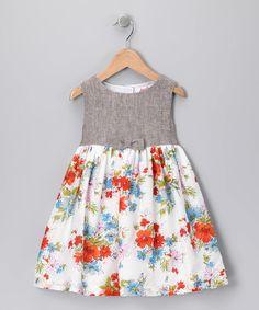 Loving this Orange Floral Herringbone Dress - Toddler & Girls on #zulily! #zulilyfinds