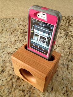 Wooden acoustic speaker for iphone.  No electricity needed