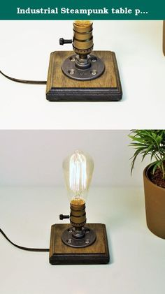 """Industrial Steampunk table pipe lamp with Classic Edison bulb and Weathered wood base. Urban Industrial Craft products are designed by us, handcrafted and assembled in San diego, California ITEM DETAILS: -Measures 5""""W, 8""""H -Cord length 8F -Antique Socket 60 watt max -Classic 40 watt Marconi filament Edison bulb included in purchase -Base is finished in Weathered -All electrical components are UL listed."""