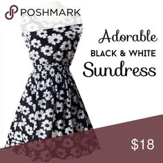 """Beautiful black and white floral sundress Dress is a soft, silky polyester fabric. Measurements listed in comments. Single layer, simple dress would look great with cute flats and a jean jacket or boots!  S: Bust 16.5"""" / Length 33"""" / Waist 11""""-17"""" (elastic) L: B 18.5"""" / L 35"""" / W 12""""-18""""  🔹Fit: Similar to juniors sizing, recommend going up a size. Please look at measurements!! {BT1.270217} Dresses"""