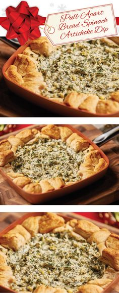 Creamy and delicious spinach and artichoke dip with pull apart bread is perfect in your #CopperChef skillet!