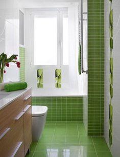Baño verde/blanco