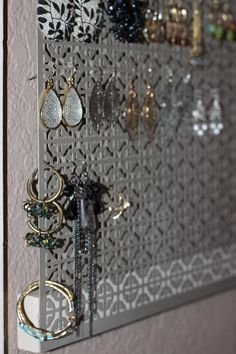 Check out this awesome idea for earring holders with the new Decorative Metal sheets available at JEWLRY holders Jewellery Storage, Jewellery Display, Jewelry Organization, Earring Storage, Diy Earring Holder, Jewelry Holder, Fitness Gifts, Jewelry Accessories, Accessories Display