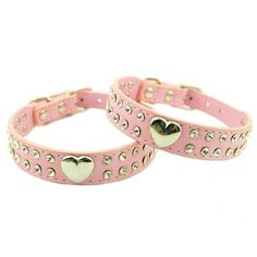 Namsan Pink Puppy Dog Pet Doggie Cats Leather Collars Necklaces With Lovely Heart Charm Bling Crystal -Extra Small * New and awesome cat product awaits you, Read it now  : Cat Collar, Harness and Leash