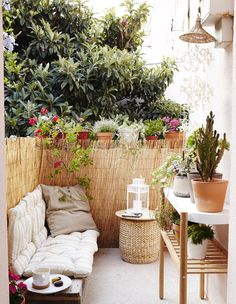 Treat your outdoor space as an extra room, however big or small. Take indoor comforts - soft seating, nice lighting - outside | #IKEAIDEAS